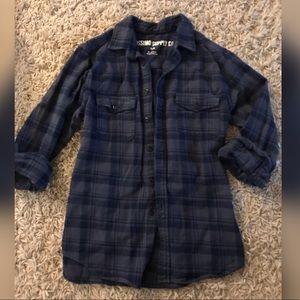 Blue Plaid Flannel Shirt